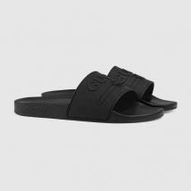 Dép Gucci Logo Rubber Slide Sandal Màu Đen Size 39