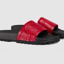 Dép Gucci Men's Black Signature Slide Sandal Màu Đỏ  Size 39