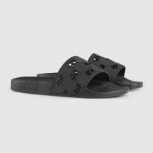 Dép Gucci Men's Rubber GG Slide Sandal Màu Đen