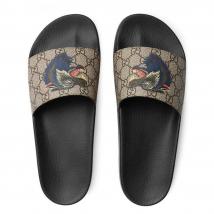 Dép Gucci Supreme Slides With Wolf Màu Xám Đen