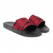 Dép Quai Ngang Givenchy Logo-Jacquard Webbing, Leather and Rubber Slides Màu Đỏ Size 39