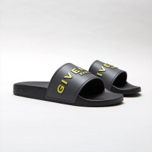Dép Quai Ngang Givenchy Yellow 3D Logo Slides Màu Đen Xám