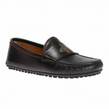 Giày Lười Nam Gucci Embossed Moccasins Màu Đen Size 40