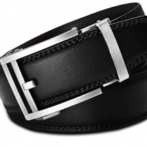 Thắt lưng Men's Holeless Leather Ratchet Click Belt – Trim to Perfect Fit Black