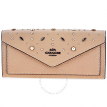 Túi Cầm Tay Coach Ladies Continental Leather Wallet- Beige Prairie Rivet Màu Nâu