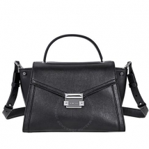 Túi Đeo Chéo Michael Kors Whitney Medium Leather Satchel- Black Màu Đen