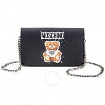 Túi Đeo Chéo Moschino Ladies Leather Bear Black Playboy Teddy Màu Đen