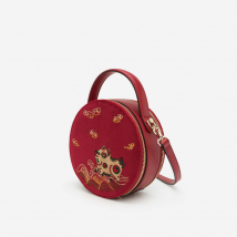 Túi Nhung Tròn Vascara Thêu Tranh Đông Hồ – SAT 0225 – Màu Đỏ