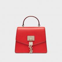Túi Xách Tay DKNY  Elissa Mini Pebbled Leather Satchel Màu Đỏ