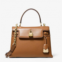 Túi Xách Tay Michael Kors Gramercy Medium Pebbled Satchel Leather Cross Body Bag Màu Nâu