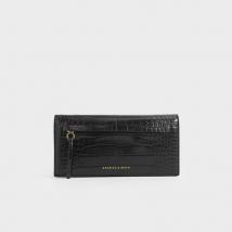 Ví Cầm Tay Charles & Keith Mini Croc-Effect Front Zip Long Wallet Màu Đen
