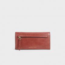 Ví Cầm Tay Charles & Keith Mini Croc-Effect Front Zip Long Wallet Màu Nâu Đỏ