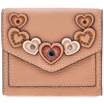 Ví Cầm Tay Coach Ladies Small Leather Wallet- Beige Hearts  Màu Be