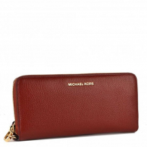 Ví Michael Kors Jet Set Brandy Pebbled Leather Continental Wristlet Màu Đỏ