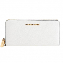 Ví Michael Kors White Optic Jet Set Travel Continental Pebbled Leather Wallet Màu Trắng