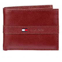 Ví Tommy Hilfiger Men's Thin Sleek Casual Bifold Wallet with 6 Credit Card Pockets and Removable Id Window Burgundy